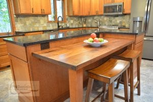 Kitchen island with wood tabletop