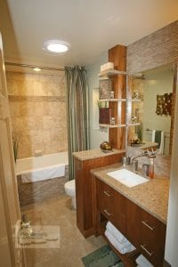 bath design with tub shower combination