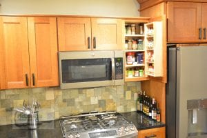 Kitchen cabinet with spice rack
