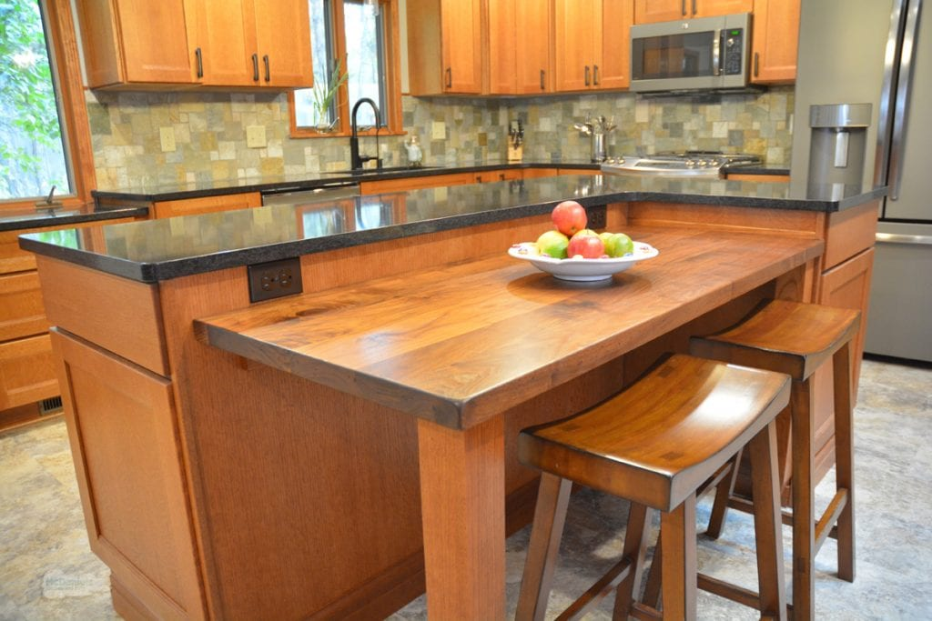 kitchen design with quartz countertop and wood table