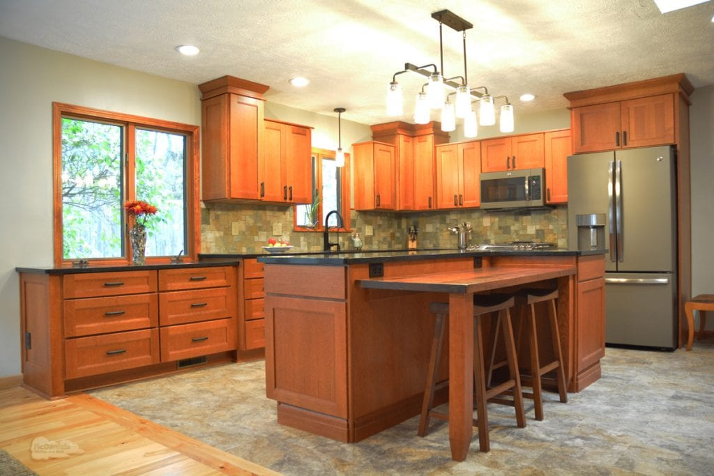 Kitchen design with recessed lights