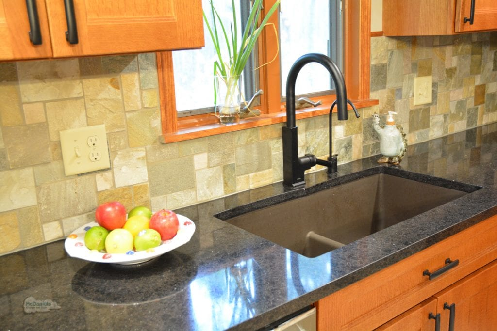 Kitchen design with single handle faucet