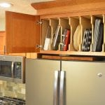 kitchen cabinets with tray divider