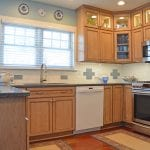 kitchen design with blue tile patter