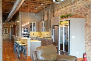 kitchen design with wood ceiling beams