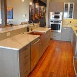 Kitchen design with hardwood floor