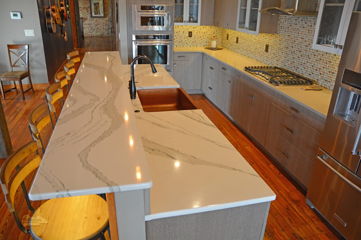 kitchen design with bi-level island