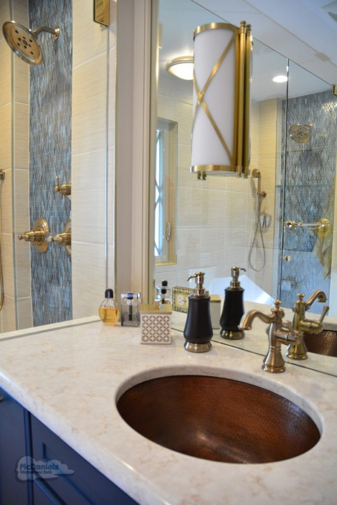 bathroom design with copper sink