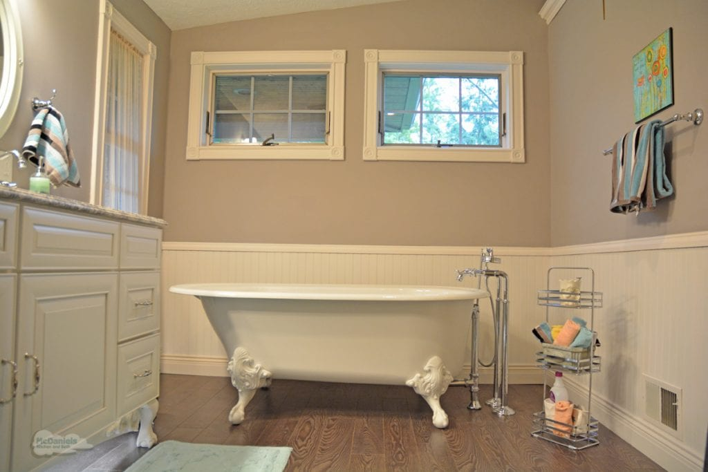 Bath design with wood floor