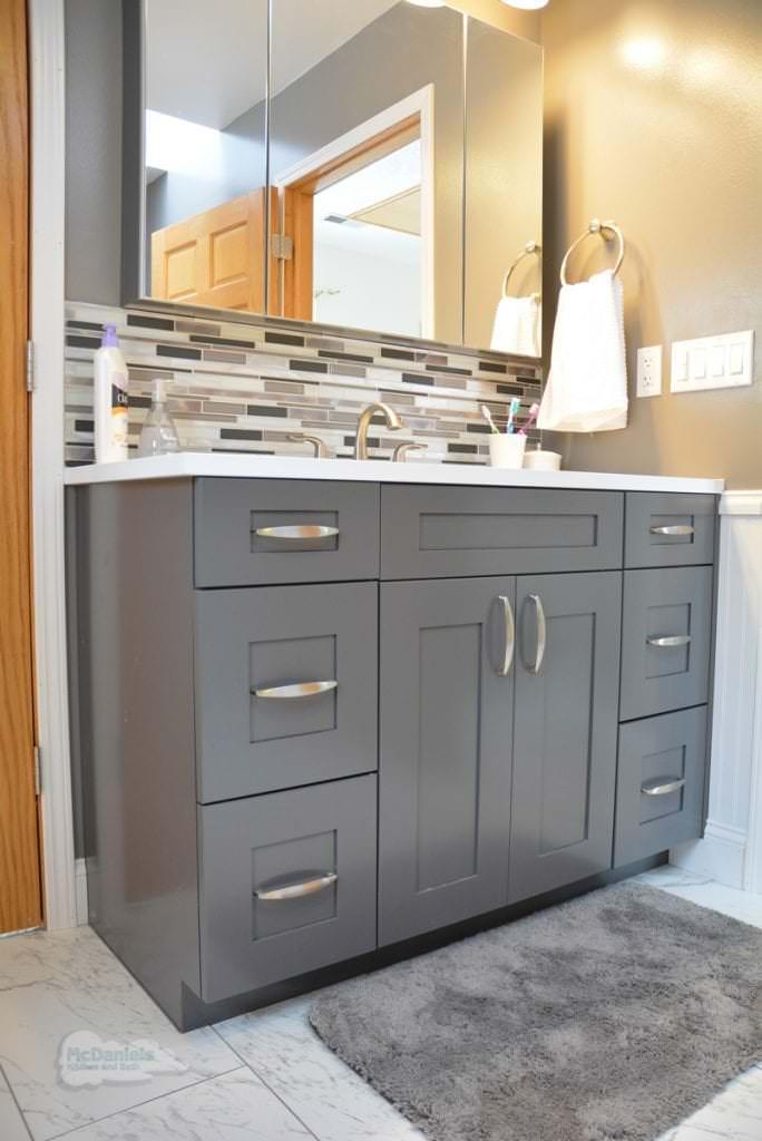 white and gray bath design