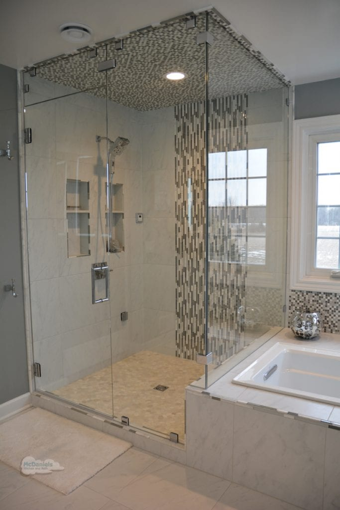 large frameless glass shower