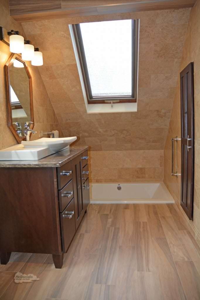 Bath design with wood look tile floor