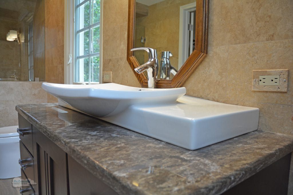 Bath design with vessel sink