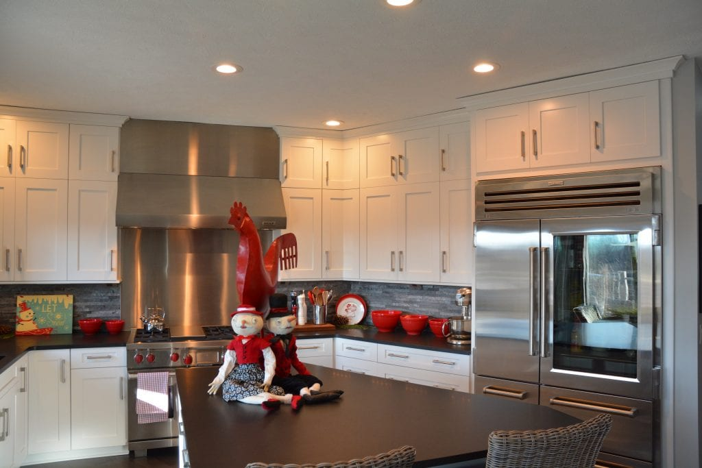 Kitchen design with festive decoration