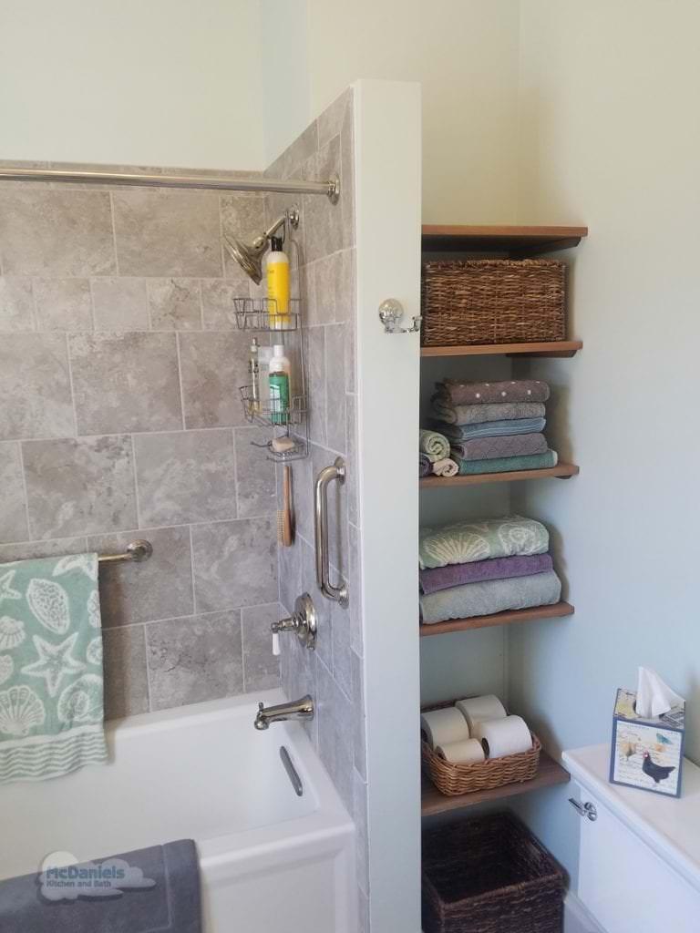 Bath design with open shelves