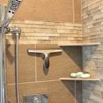 shower design with corner shelves