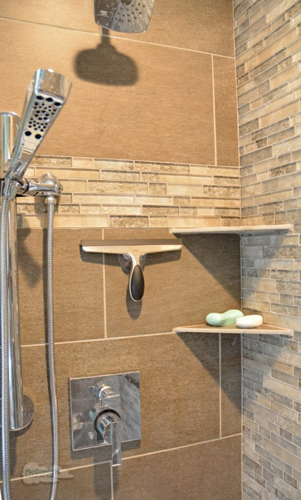shower design with corner shelves