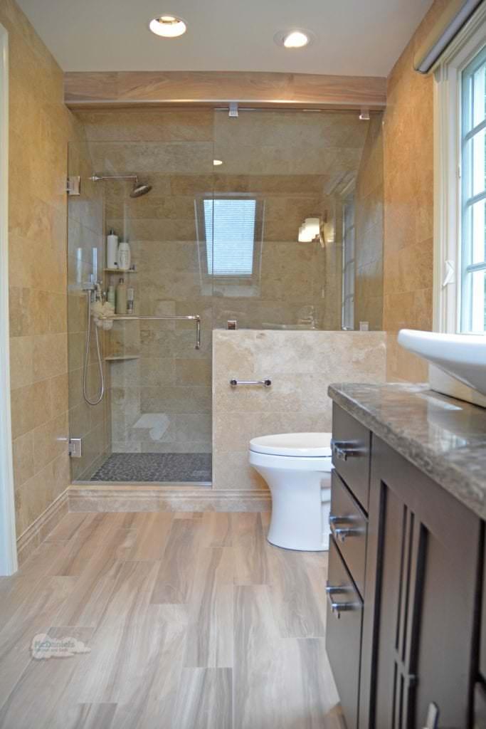 bathroom design with wood effect tile