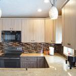 kitchen design with glass tile backsplash