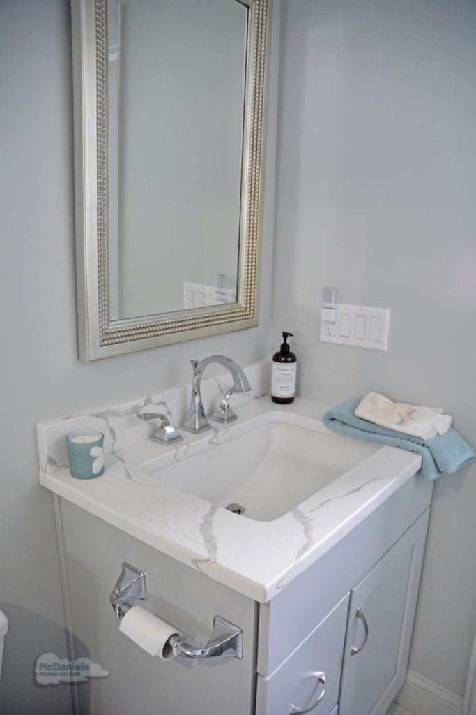 bath design with flat panel gray cabinet