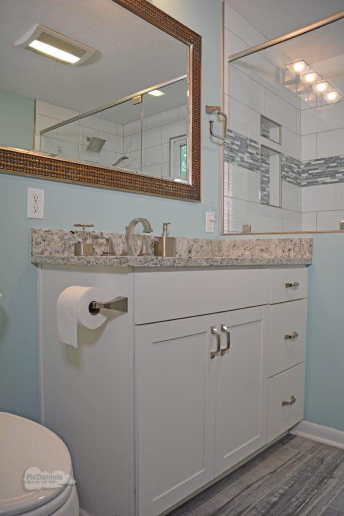 bath design with white shaker vanity