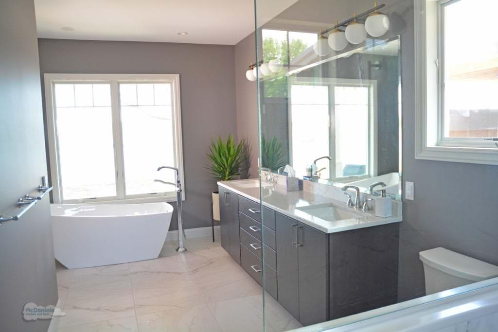 master bath design with freestanding tub