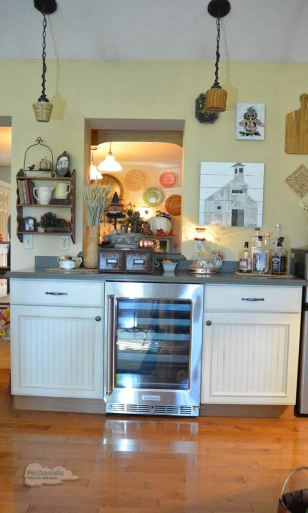 kitchen design with beverage refrigerator