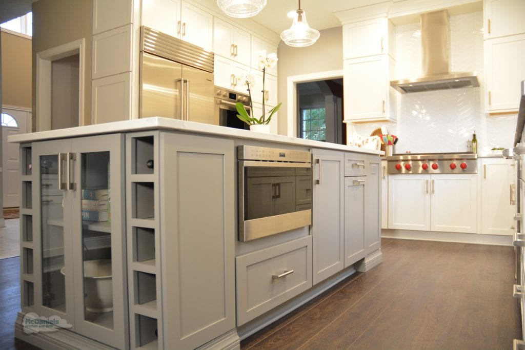 gray kitchen island cabinetry