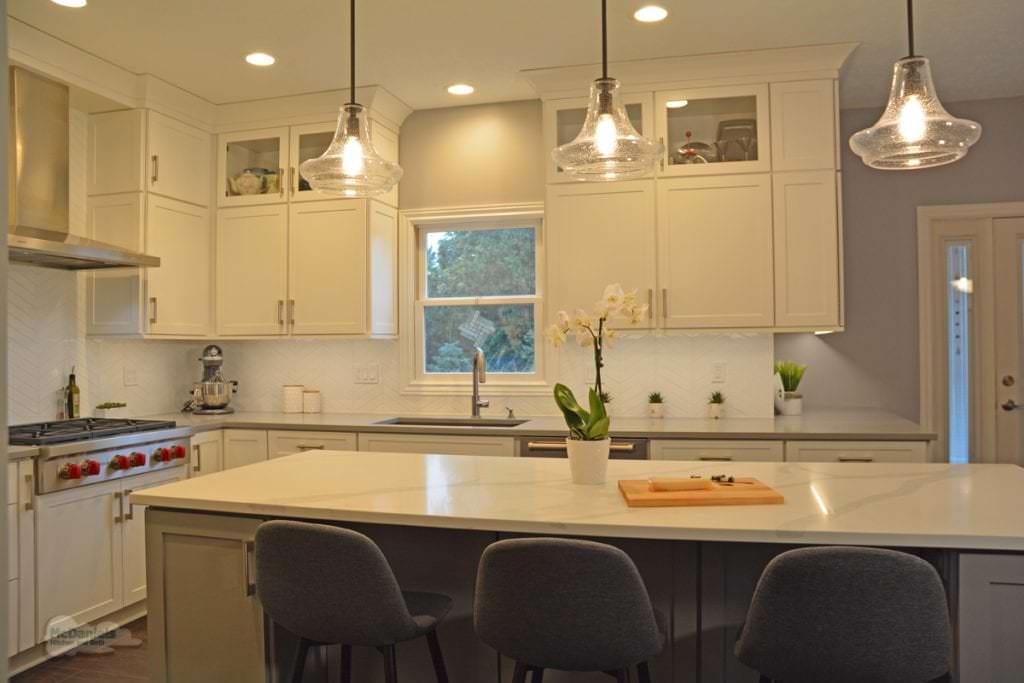 kitchen island with glass pendants