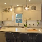 kitchen island with glass pendants