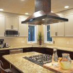 kitchen island cooktop and hood