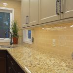 yellow tile backsplash