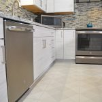 white slab kitchen cabinets
