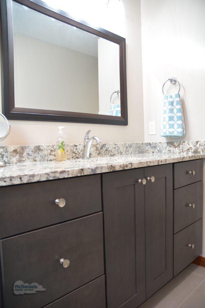 dark wood vanity cabinet