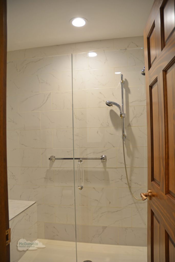 shower with built in shower bench