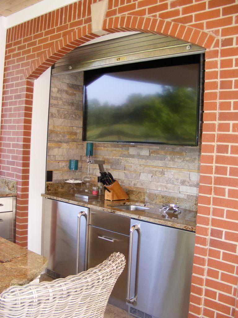 outdoor kitchen design with kegerator