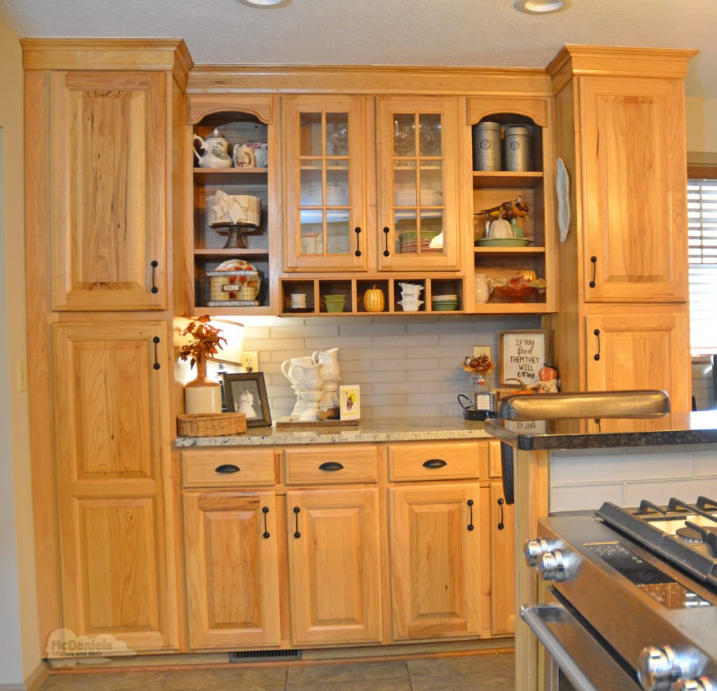 kitchen cabinets with open storage