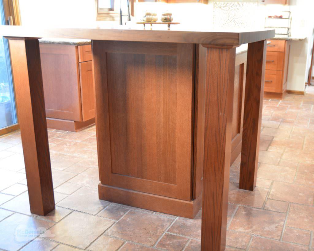kitchen island with countertop overhang