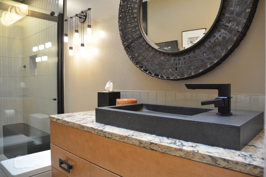 bath design with black sink