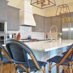 kitchen island with blue chairs