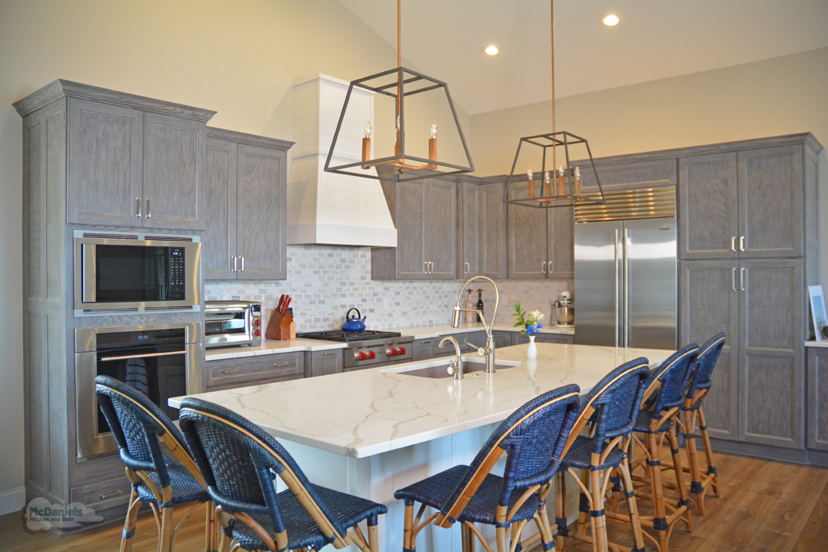 kitchen island with blue barstools