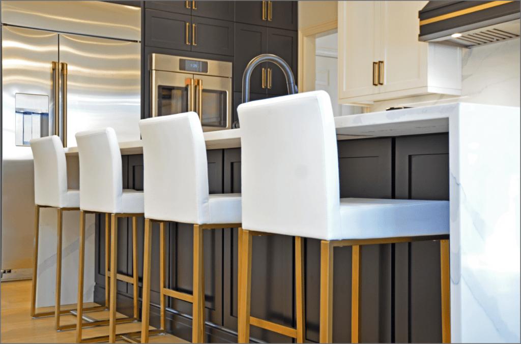 kitchen island with white barstools