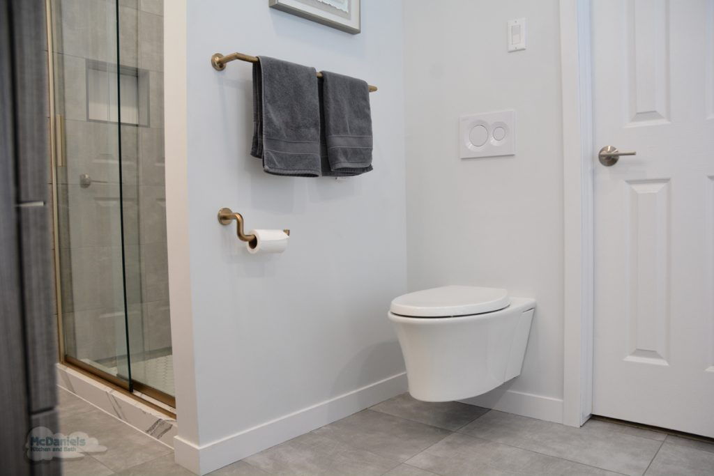 bathroom design with wall hung toilet