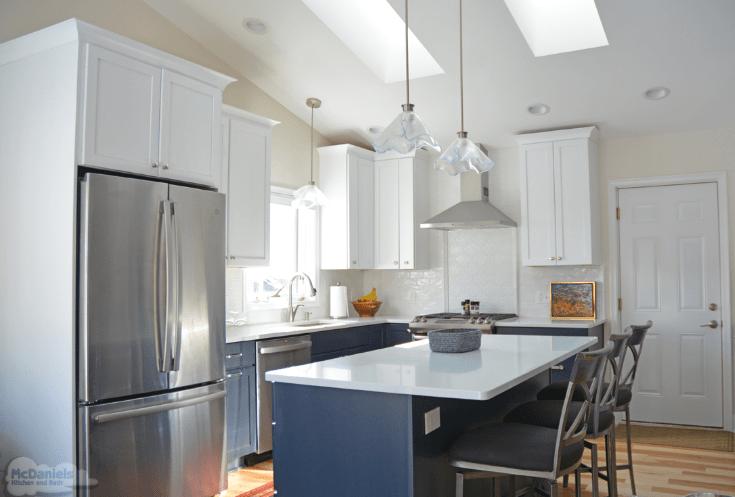 kitchen design with blue island